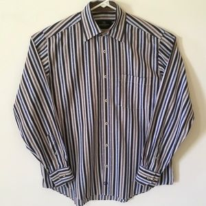 Bugatchi Black-Blue-Brown Striped Button Down